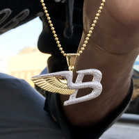 Iced Out Car Logo Wings Pendant .925 Sterling silver Lab Diamonds