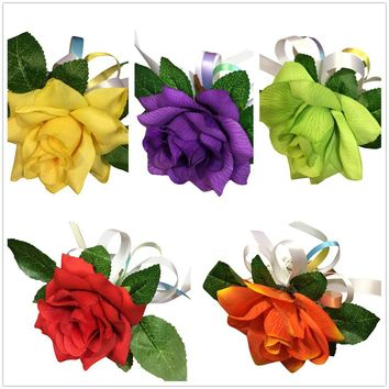 Wrist Corsage - Open Rose Corsage with White and Rainbow Ribbons *Pick Rose Color*