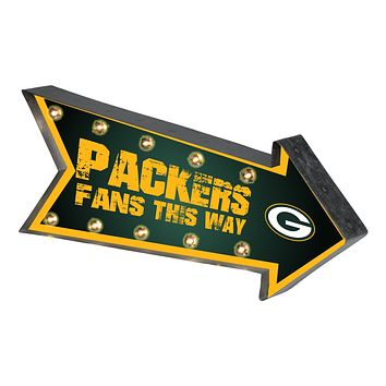 Green Bay Packers Sign Marquee Style Light Up Arrow Design