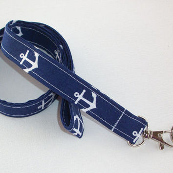Lanyard ID Badge Holder - Anchors - Lobster clasp and key ring Zig Zag - ZigZag