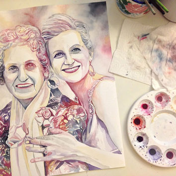 MOTHER GRANDMOTHER PORTRAIT - Custom watercolor painting, special gift for mother's day, special gift for grandmother from daughter mom gift