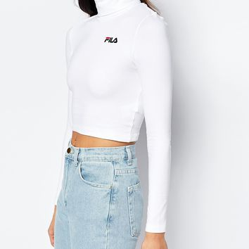 Fila Cropped Roll Neck Long Sleeve Top With Small Logo