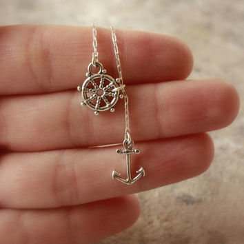 Silver Anchor Lariat Necklace - Sterling Silver Anchor Charm . Sailing Wheel Charm . Sterling Silver Chain Lariat . Nautical . Gifts for Her