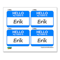 Erik Hello My Name Is - Sheet of 4 Stickers