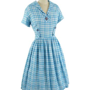 50s Aqua Plaid Full Skirt Midi Dress-M