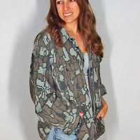 Vintage Flannel, Winchester Camo Button Up 90s Grunge Camouflage 100% Cotton Comfy Oversize