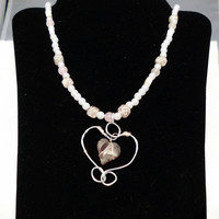 "Glass Pearl and Rose Quartz Necklace with Handcut Sea Glass Pendant, ""Patience"""