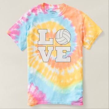 Cute Volleyball Love Pastel Tie-Dye T-shirt