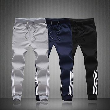 2016 New Men Stripe Cotton Rubchinskiy Sweatpants Casual Pants Trouser Bodybuilding Fi