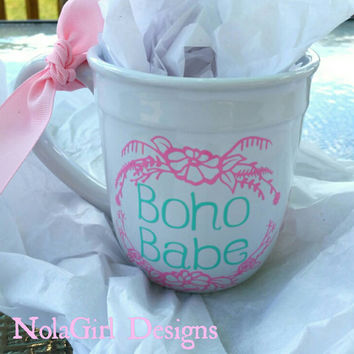 Boho Babe, coffee cup, coffee mug, bohemian, Babe, boho mama, bohemian style, trendy, custom designs, personalized coffe cups, mugs, stylish