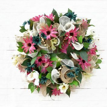 White Roses Pink and Blue Daisy Burlap Mesh Wreath, Spring Time Wreath, Summer Wall Decor, Everyday Wreath