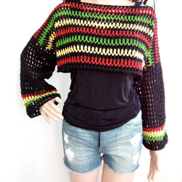 CROCHET SHRUG Rasta Bob Marley Crop Top Sleeves Crochet Cardigan Rasta Short Crochet Lace  Sleeves