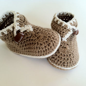 Brown Bear Booties for Babies, Crochet Pattern PDF 12-036