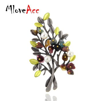 MloveAcc Vintage Natural Stone Brooch Pendant Retro Tree Shape Imitation Pearl Pins Brooches Jewelry for Women Christmas Gift