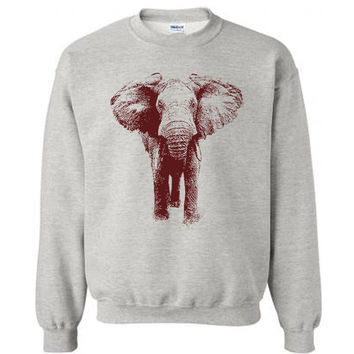 Elephant Sweater Flex Fleece Pullover Classic Sweatshirt - S M L XL and XXL (15 Color Options)