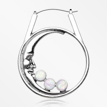 A Pair of Iridescent White Sparkle Crescent Moon Plug Hoop Earring