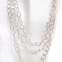 Silver Multi Chain Link Stylish Necklace