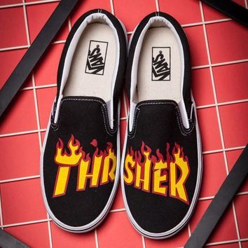 VANS X Thrasher Slip-On Canvas Old Skool Flats Shoes Sneakers Sport Shoes