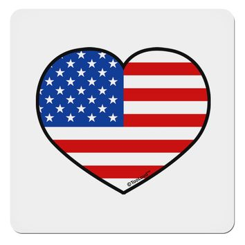 """American Flag Heart Design 4x4"""" Square Sticker by TooLoud"""