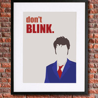 """Doctor Who Inspired Poster Art   8x10 Instant Download Printable   10th Doctor """"Don't Blink"""" quote   David Tennant   Blue, Red & Grey"""