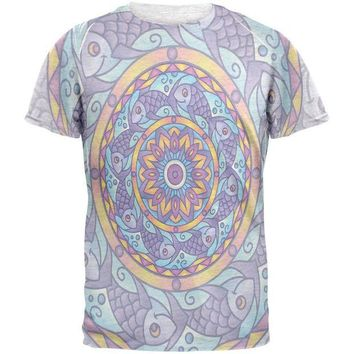 LMFCY8 Mandala Trippy Stained Glass Fish Mens T Shirt