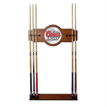Coors Light 2 piece Wood and Mirror Wall Cue Rack