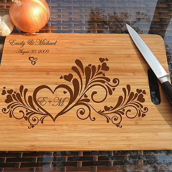 kikb514 Personalized Cutting Board Wood wood wedding anniversary gift heart Monogram