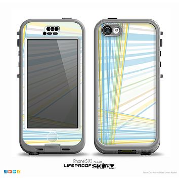 The Bright Blue and Yellow Lines Skin for the iPhone 5c nüüd LifeProof Case