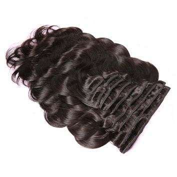 """Clip In Human Hair Extensions Body Wave 140G Remy Hair Natural Color 10 Pieces 12-22"""""""
