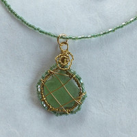 Green Sea Glass Wire Wrapped Necklace  with Iridescent Glass Beads