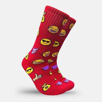 Emoji Face Red Crew Socks