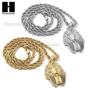 "MENS HIP HOP ICED OUT EGYPTIAN PHARAOH PENDANT 24"" ROPE CHAIN NECKLACE N033"