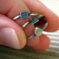 Geometric Stack Rings. Set of Three Simple Shapes.