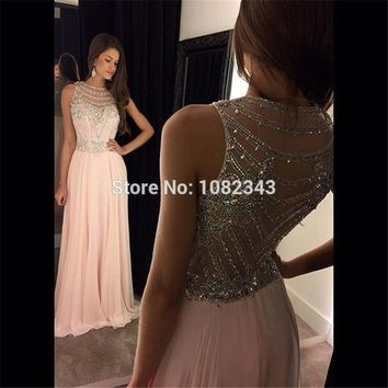 Beauty Scoop Neck Beading Open Back Pink Chiffon Long Prom Dresses 2016 Sleeveless A Line Floor Length Prom Dress 011503