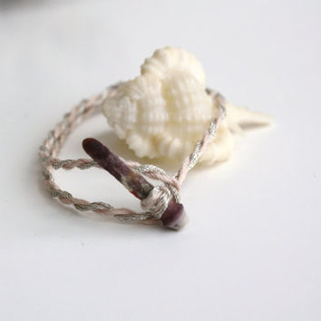 Sea Urchin Friendship Bracelet - Peach Silver - Mermaid