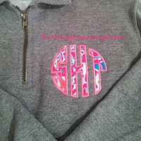 Lilly Pulitzer Monogram Applique 1/4 zip sweatshirt