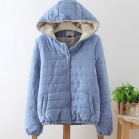 Women Jackets And Coats Winter Quilted Patchwork Pink Sky Blue Long Sleeve Hooded Jacket Army Green Womens Wool Coats with Cap