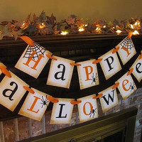 Halloween Banner Black and Orange  Spider Garland Great Photo Prop Sign