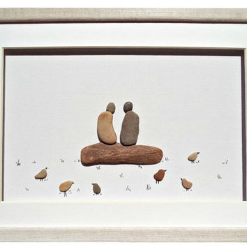 Pebble art gift for couple, wedding, engagement, Relationship gift, Eco Friendly home décor, Best friend beach stones art gift, Framed art