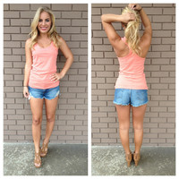 Coral T-Back Cotton Tank