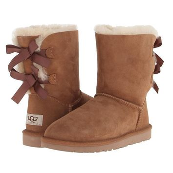 shosouvenir £º UGG Fashion Women Bow Flats Leather Boots In Tube Boots Shoes