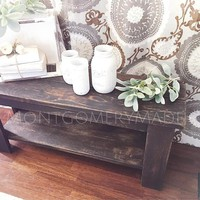 Entryway bench or table, scorched cedar, burned wood, handmade, experienced woodworker, coffee or side table farmhouse rustic
