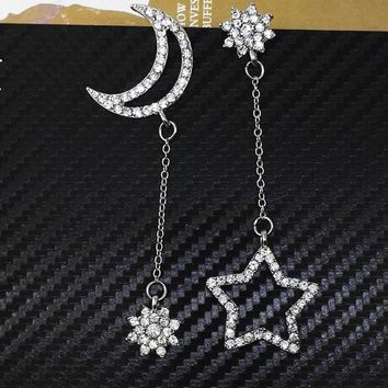 New Hollow Zircon Stars Moon Asymmetrical Stud Earrings Fashion Small Fresh Snowflake Tassel Long Section Earrings For Women