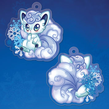 "POKEMON Sun / Moon - Alolan Vulpix Double Sided 1.5"" Clear Acrylic Phone Charm PREORDERS"