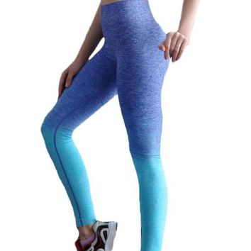 Gradient Fade High Waist Yoga Pants Athletic Women Running Fitness Elastic Tights Leggings Jogging (FREE SHIPPING TO USA)