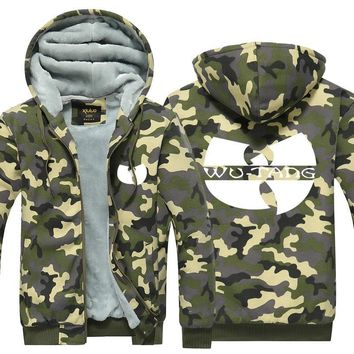 Wu Tang Symbol Hoodie Camouflage Winter Coat Chinese Traditional Culture Pattern Thicken Fleece US Plus Size