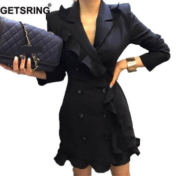 GETSRING 2017 New Autumn Flounced Chiffon Leisurely Slim Suit Double Breasted Blazer Jacket