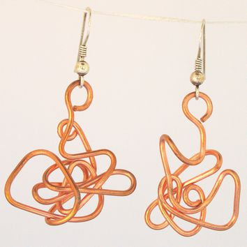 Abstract Wire-Sculpture Solid Copper Earrings