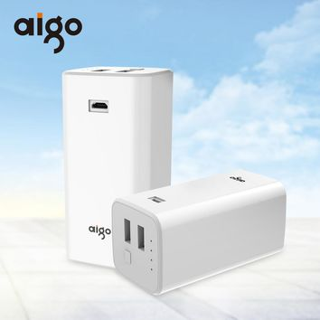 10000mAh Aigo Power Bank 2 USB Outputs Quick Charge Portable Mobile Backup Powerbank External Battery for Iphone 7 7s 8 X
