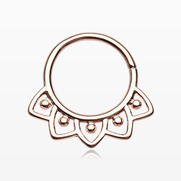 Rose Gold Indian Lilac Septum Twist Loop Ring